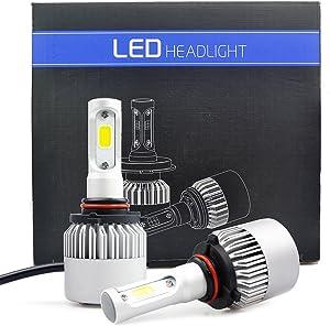 iDlumina 9005 H10 9040 9045 9055 9140 9145 HB3 12V 24V White LED Car Light Bulb 2X10W COB Aluminum Fan Cooling Design for Replacement Headlight Fog Light (Pack of 2)