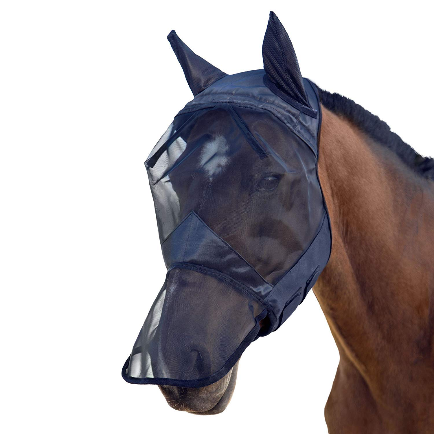 IF.HLMF Knight Rider Full Face Fly Mask/Hood/Veil with Nose Fly Mask Full Face Piano Black,M
