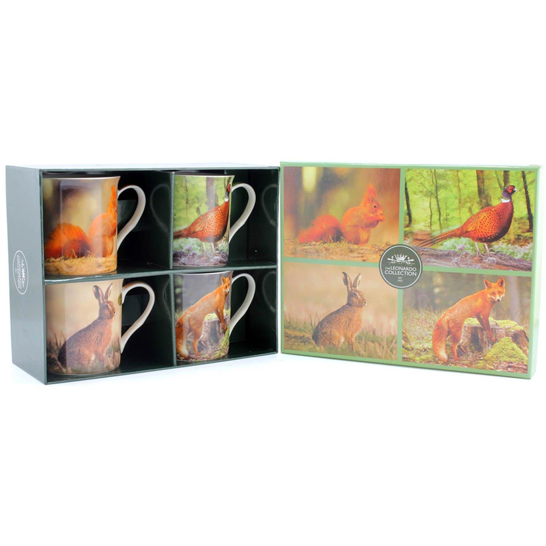 Gift Boxed Set of 4 China Mugs - British Wildlife Lesser and Pavey Ltd