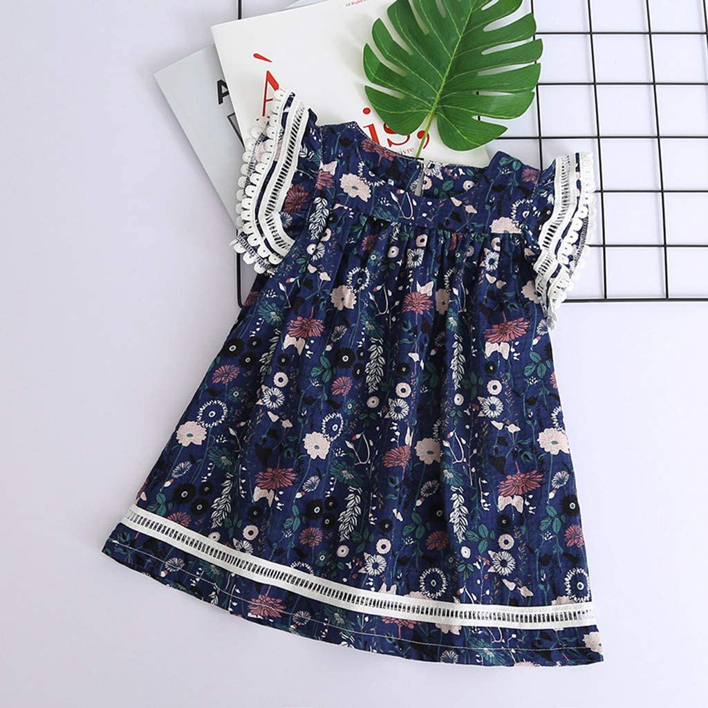 Toddler Kids Baby Girls Clothes Lace Floral Printing Party Princess Dresses