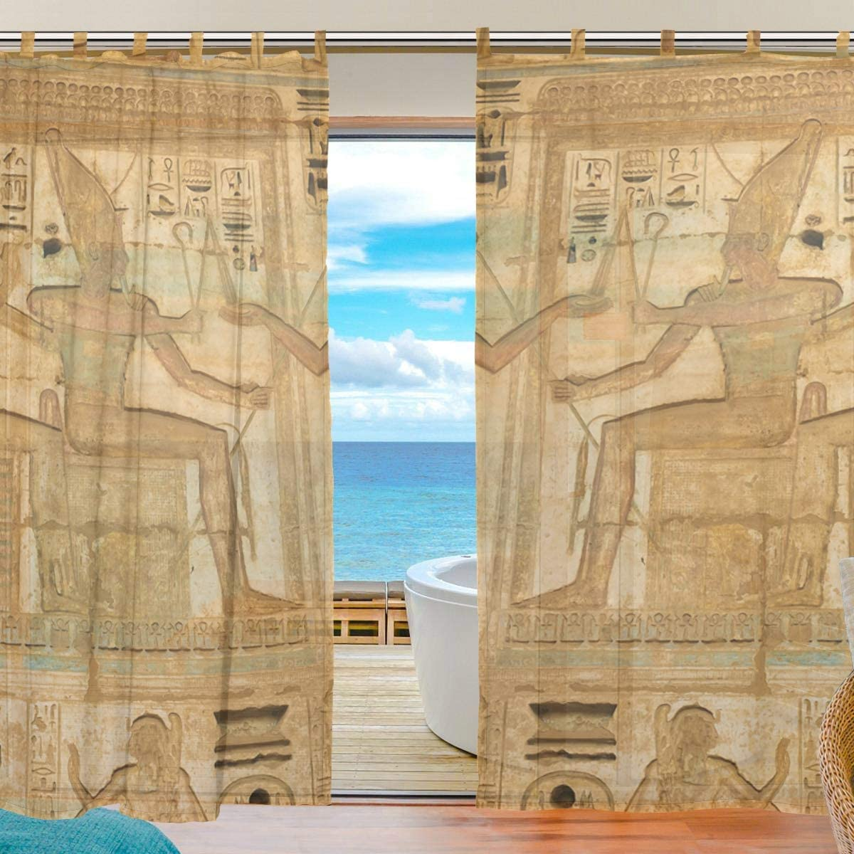 SUABO 2PCS Sheer Window Curtain Panels for Bedroom Living Room 55 W x 78 L Egyptian Mural Art Pattern
