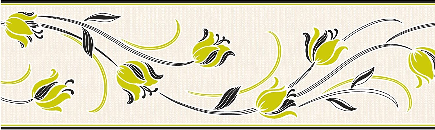Fine Decor 173 mm Tulipa Border, Lime/Black FDB05652S