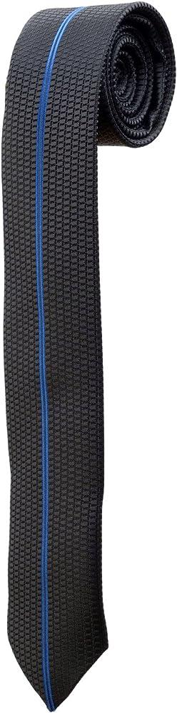 Corbata Fina Negra con una Rayure azul bordado design estrecha ...