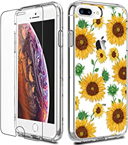 iPhone 8 Plus Case, LUHOURI Clear iPhone 7 Plus Case with Screen Protector, Girls Women Heavy Duty Protective Hard Case with TPU Bumper Cover Phone Case for iPhone 8 Plus / 7 Plus, Sunflowers