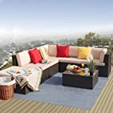 Furniwell 7 Pieces Patio Furniture Sectional Set Outdoor Wicker Rattan Sofa Set Backyard Couch Conversation Sets with Pillow,