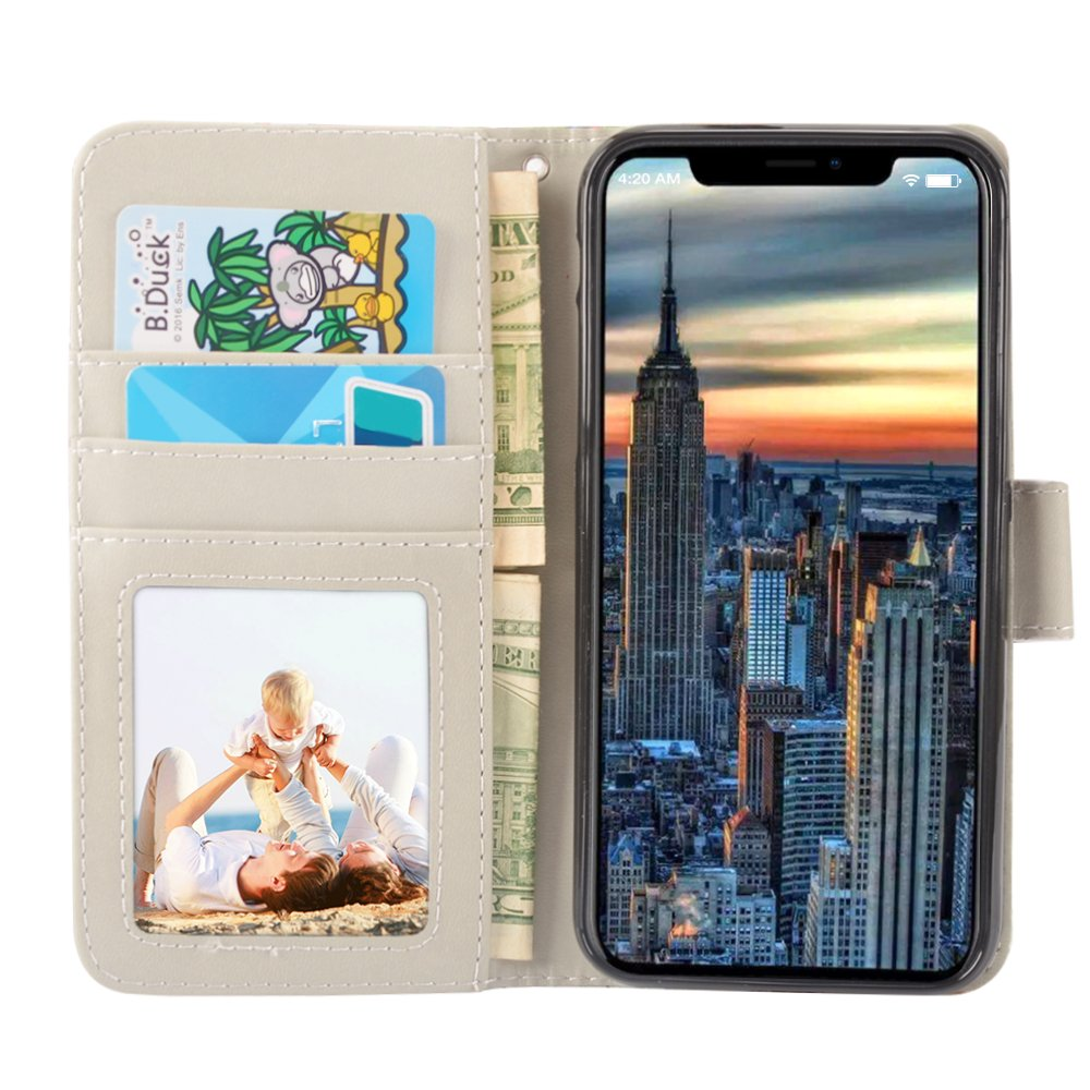 iPhone X Case, MagicSky iPhone X Wallet Case, Premium PU Leather Wristlet Flip Case Cover with Card Slots & Stand for Apple iPhoneX - Love Tree