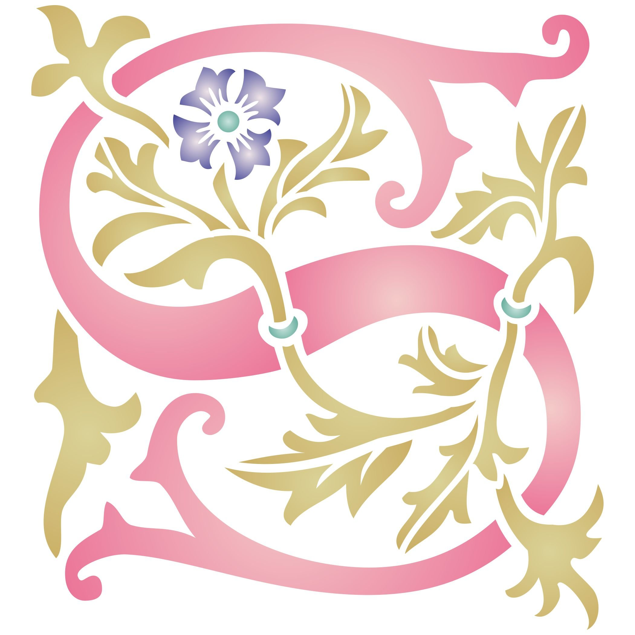 """Monogram S Stencil (size 6.5""""w x 7""""h) Reusable Stencils for Painting - Best Quality Letter Wall Art Décor Ideas - Use on Walls, Floors, Fabrics, Glass, Wood, Cards, and More…"""