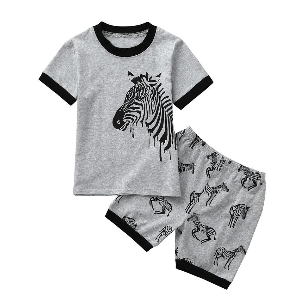 Jimmackey- Bambini Ragazzi Zebra T-Shirt Stampa Camicia Cime + Pantaloncini Pigiama Neonato Abiti Completo