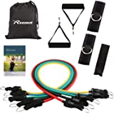 Reehut Resistance Band Set - 12-Piece Suits with 5 Exercise Tubes, Door Anchor, 2 Foam Handles, 2 Ankle Straps, Manual and Carrying Case