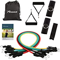 Reehut Resistance Bands Set - 12-Piece Set Includes 5 Exercise Tubes, Door Anchor, 2 Foam Handles, 2 Ankle Straps, Manual and Carrying Case