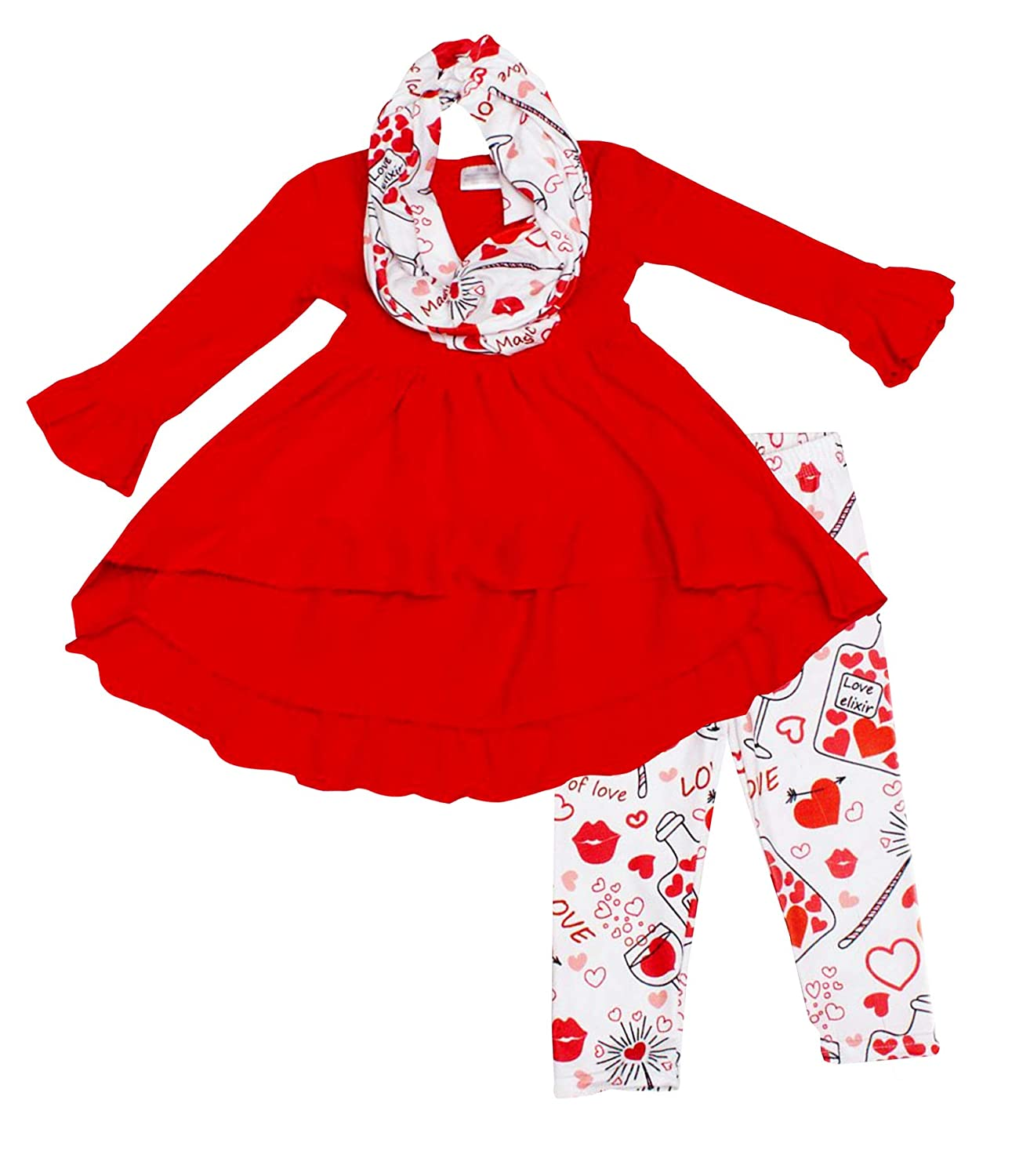 Amor Bee Girls Valentines Day I Heart Love Elixir Outfit Set Hi-Low Tunic Legging Scarf 3pc Set