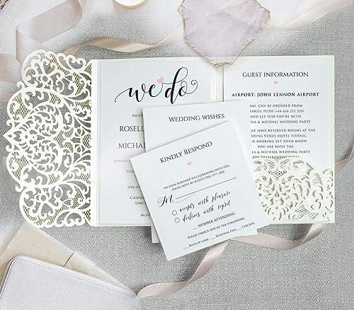 Weiß Gefaltet Einladungskarten Kuvert Lasergeschnittene