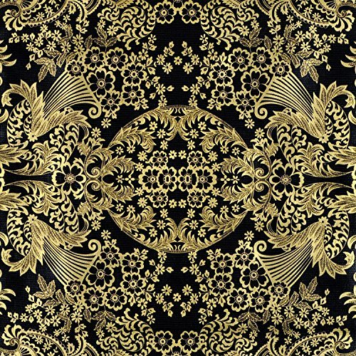 Gold/Black Paradise Lace Oilcloth Fabric - By the yard