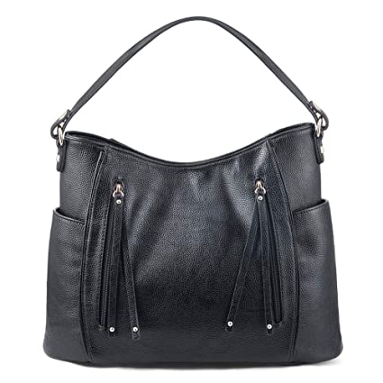 775626bbed6d VDSL Women Leather Tote Bag Handbags Hobo Shoulder Purse (Black)   Amazon.co.uk  Shoes   Bags
