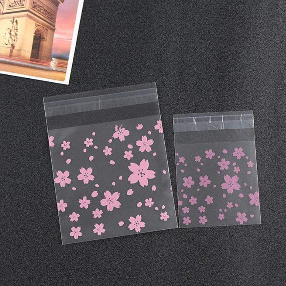 JUNSHUO Bolsa de Dulces,Bolsa de Sellado de Celofán bolsas plásticas para alimentos Flor de cerezo rosa de Puntos Bolsa Autoadhesiva para Fiestas, Fiesta de Bienvenida a Bebé(300PCS,3.9 * 3.9 INCH)