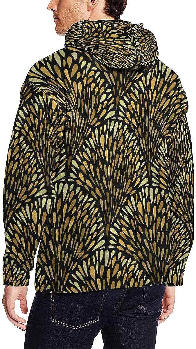 INTERESTPRINT Mens Abstract Golden Drops Hooded Sweatshirts