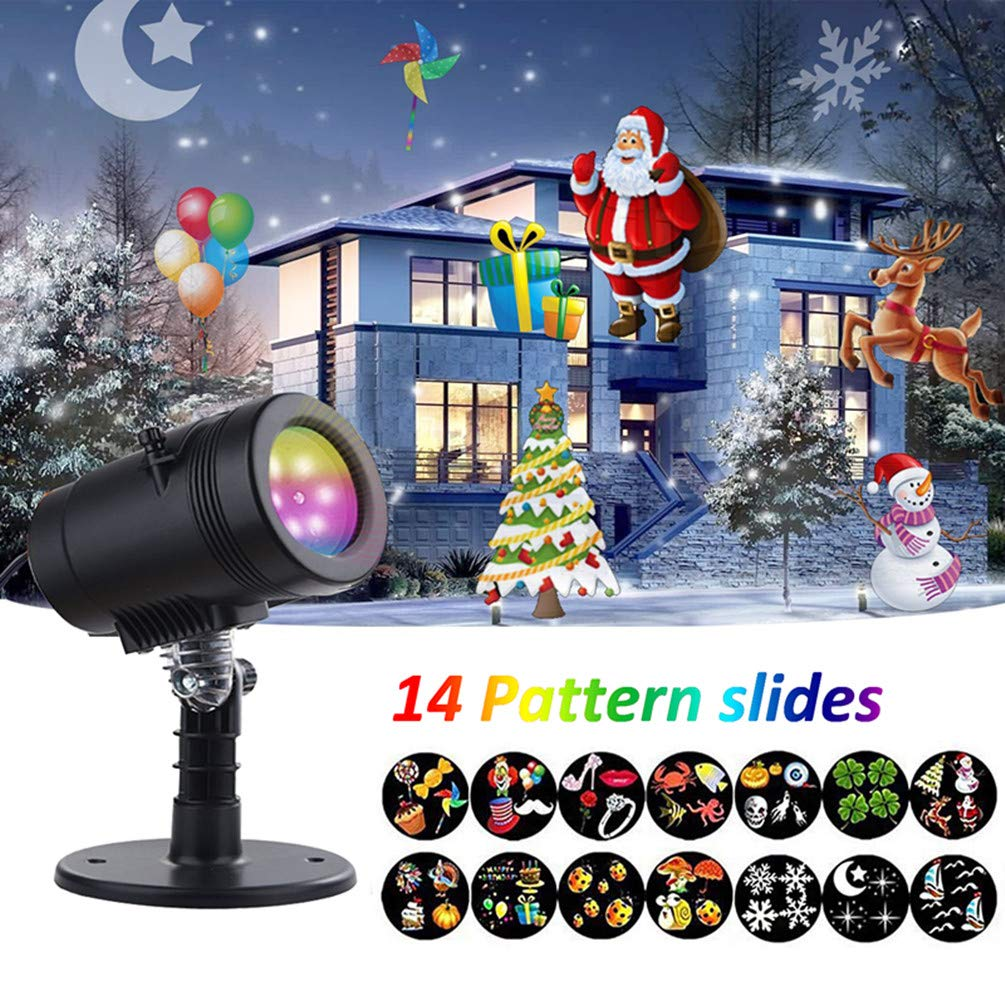 EECOO Led Projector Lights Christmas Decorations, IP65 Waterproof with14 Moving Pattern Snowflake Star Holiday Shower Projector, Outdoor Indoor Slides Landscape Spotl, 12.9518.2920.83, Black