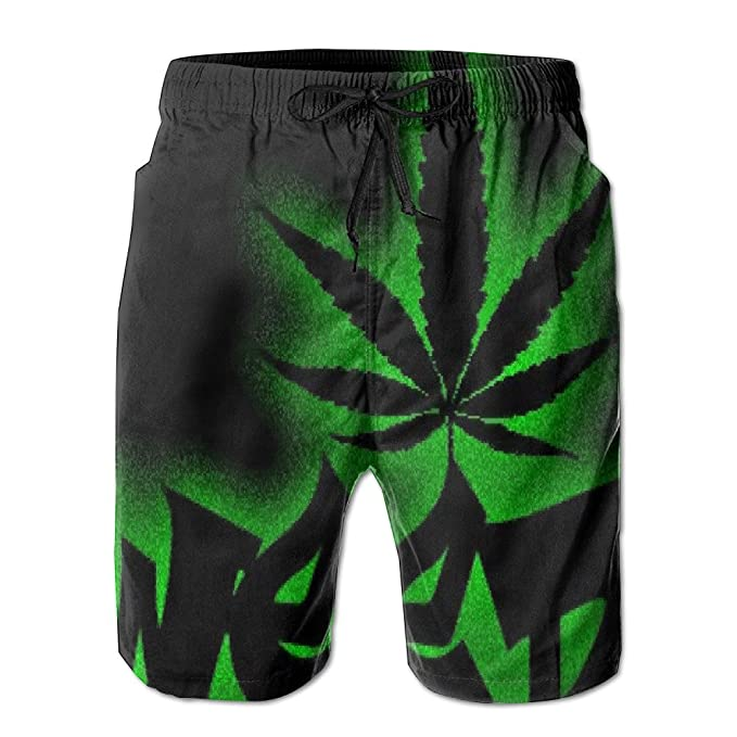 f756d6be2d Kash NY Mens Black Weed Leaf Fashion Surf Board Beach Home Shorts Swim- trunks Quick