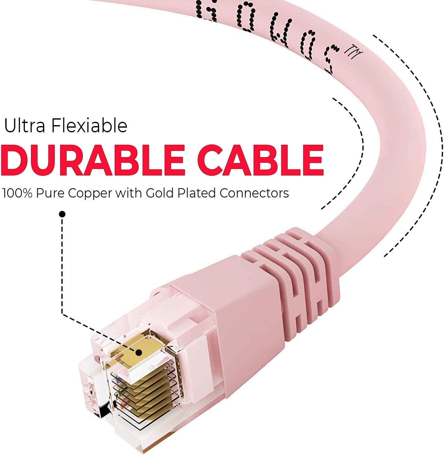 Cat5e Ethernet Cable GOWOS 50-Pack Available in 28 Lengths and 10 Colors UTP 14 Feet - Pink RJ45 10Gbps High Speed LAN Internet Patch Cord Computer Network Cable with Snagless Connector
