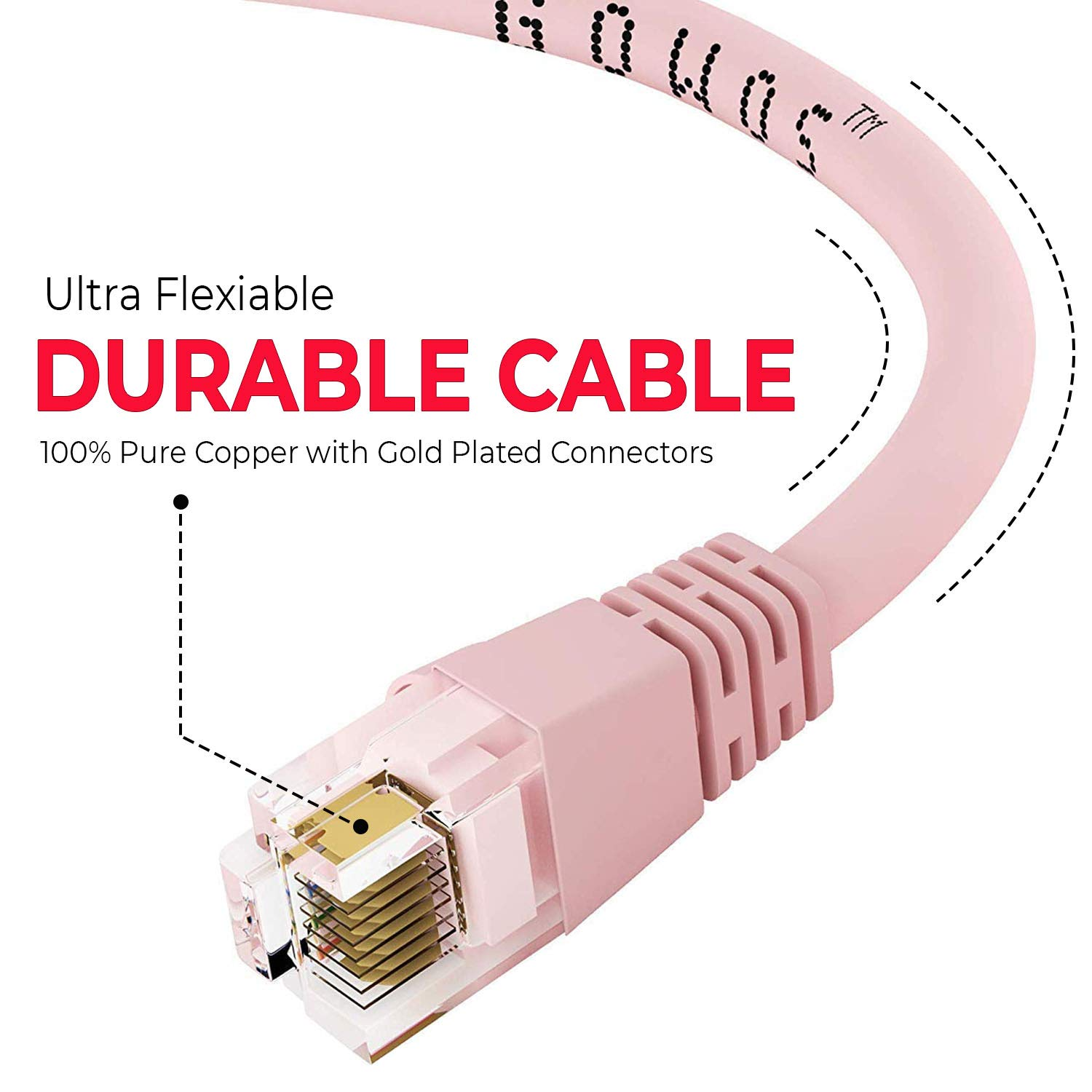 50-Pack - 25 Feet 350MHz Purple 24AWG Network Cable with Gold Plated RJ45 Snagless//Molded//Booted Connector 1Gigabit//Sec High Speed LAN Internet//Patch Cable GOWOS Cat5e Ethernet Cable