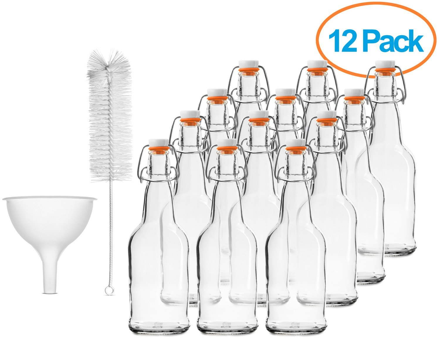 Chef's Star CASE OF 12 - 16 oz. EASY CAP Beer Bottles with Funnel and Cleaning Brush - CLEAR