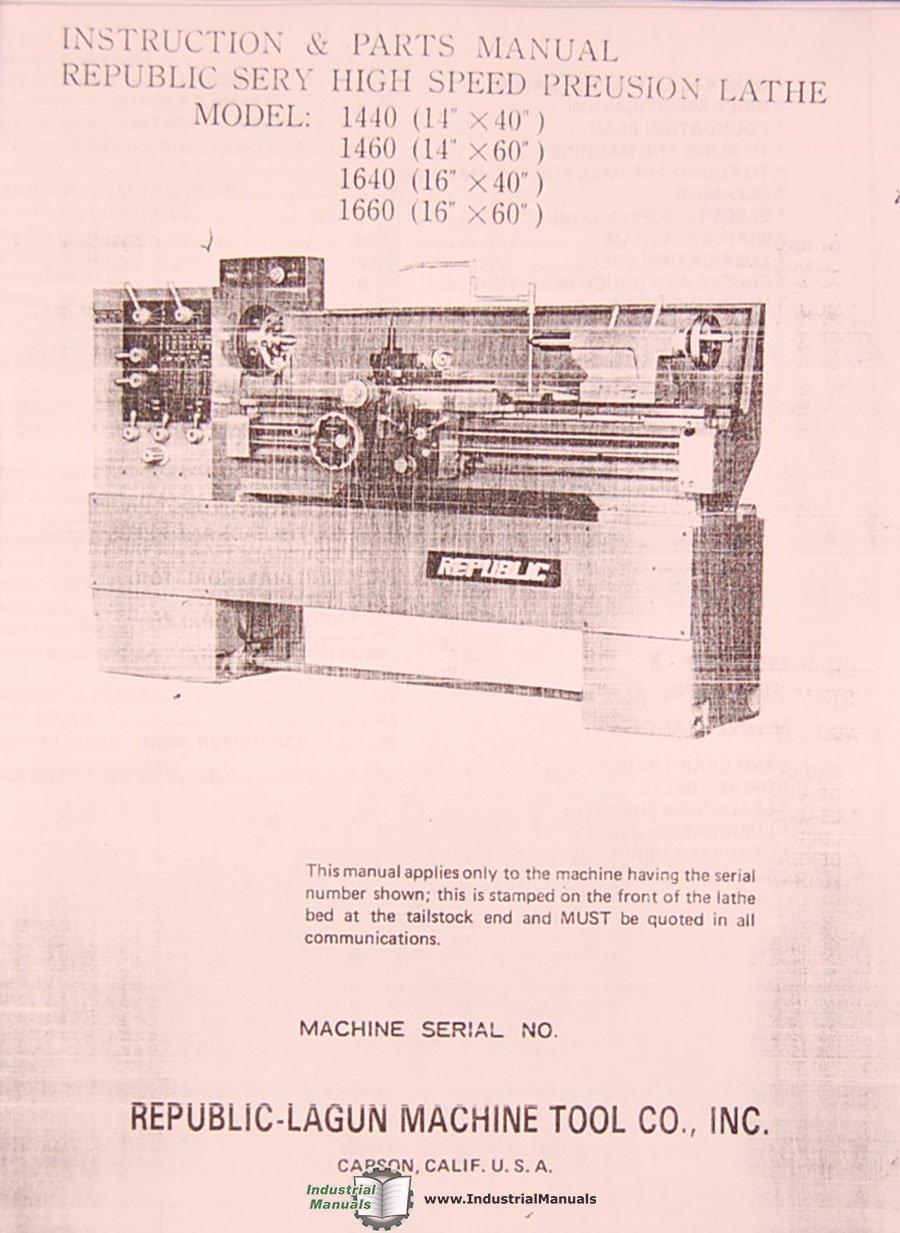 Lagun 1440, 1460 1640 1660, Lathe, Instructions and Parts Manual: Lagun:  Amazon.com: Books
