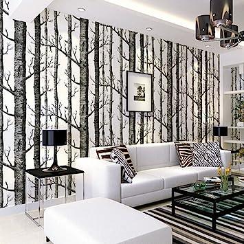 Tapete Birke, Birch Forest Wallpaper Fototapete Birkenwald Vliestapete 3D  Wood Tapete Wandtapete Schlafzimmer Baum Moderne Dekoration 0.53m*10m ...