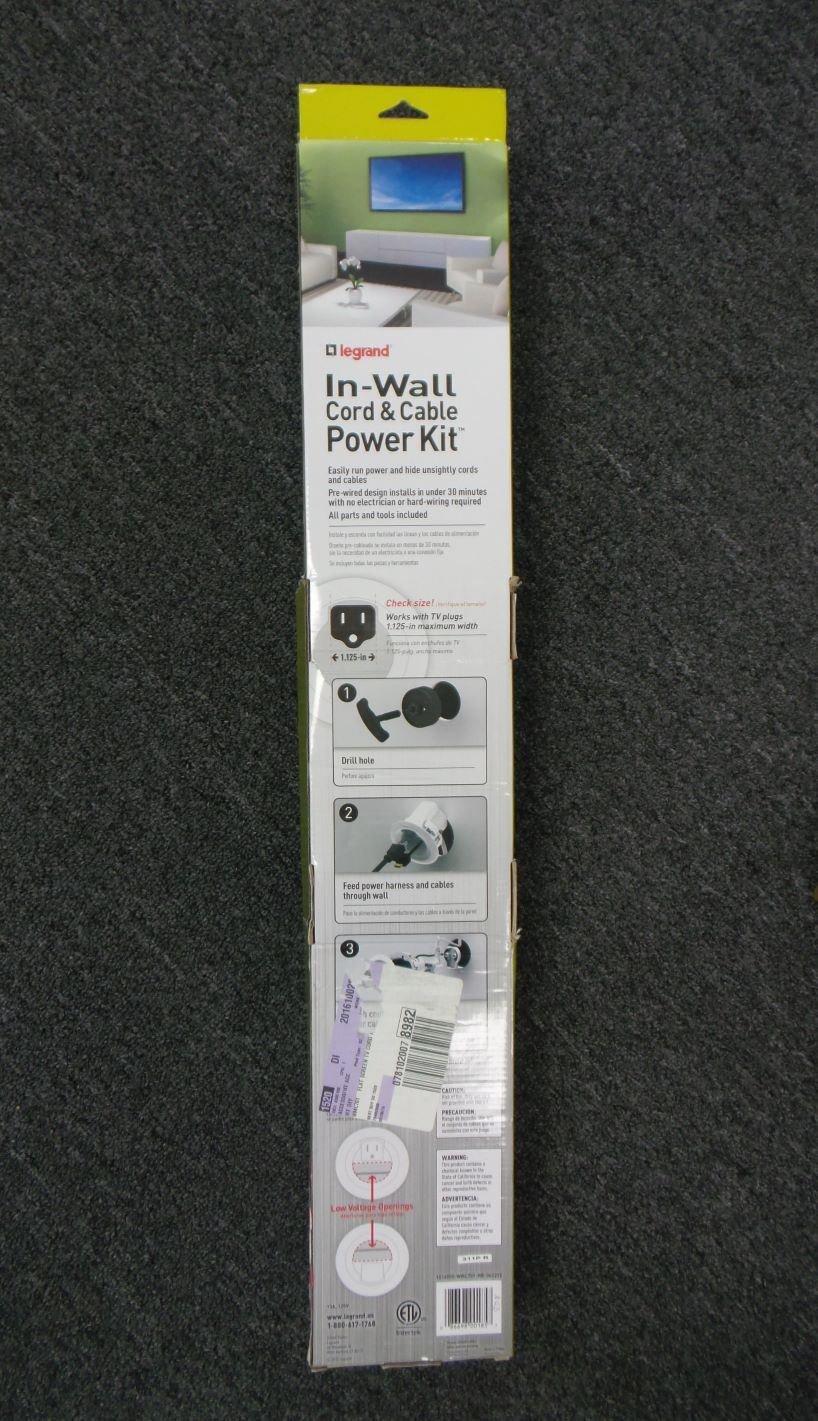 Amazon.com: Legrand In-Wall Wiremold Cord & Cable Power Kit WMC701 White: Industrial & Scientific