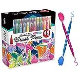 TBC The Best Crafts 48 Colors Brush Pens, Dual Tip Art Marker Pens Set, Flexible Brush Tip , Fine Point Tip for Kids , Adults