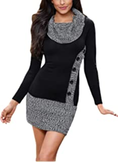e68384bf9b6 Elapsy Womens Button Front Side Long Sleeve Knit Slim Fit Bodycon Sweater  Dress