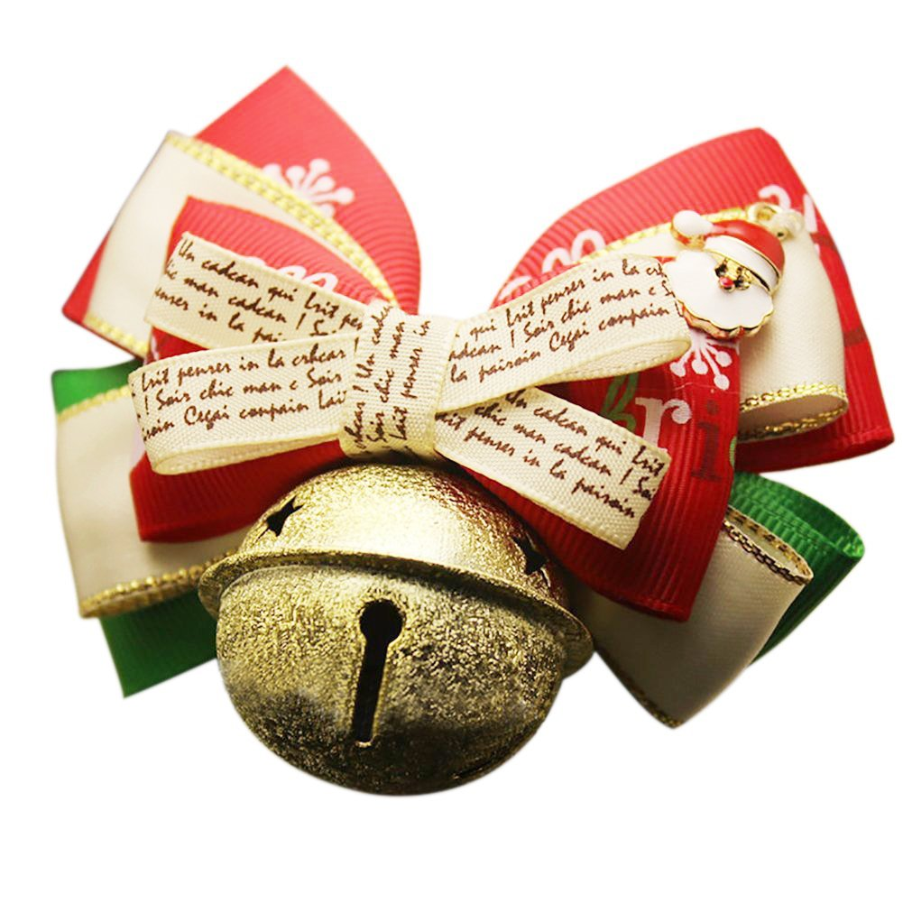 OMEM Christmas Pet Bells, Christmas Holiday Festive Pet Bow Tie, Pet Collar With the Bell, Christmas Pet Decorations (M-Medium, Scrub Bells)