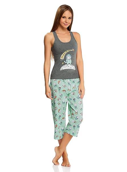 """oodji Ultra Mujer Pijama con Pantalones y Estampado """"Gato"""", ..."""