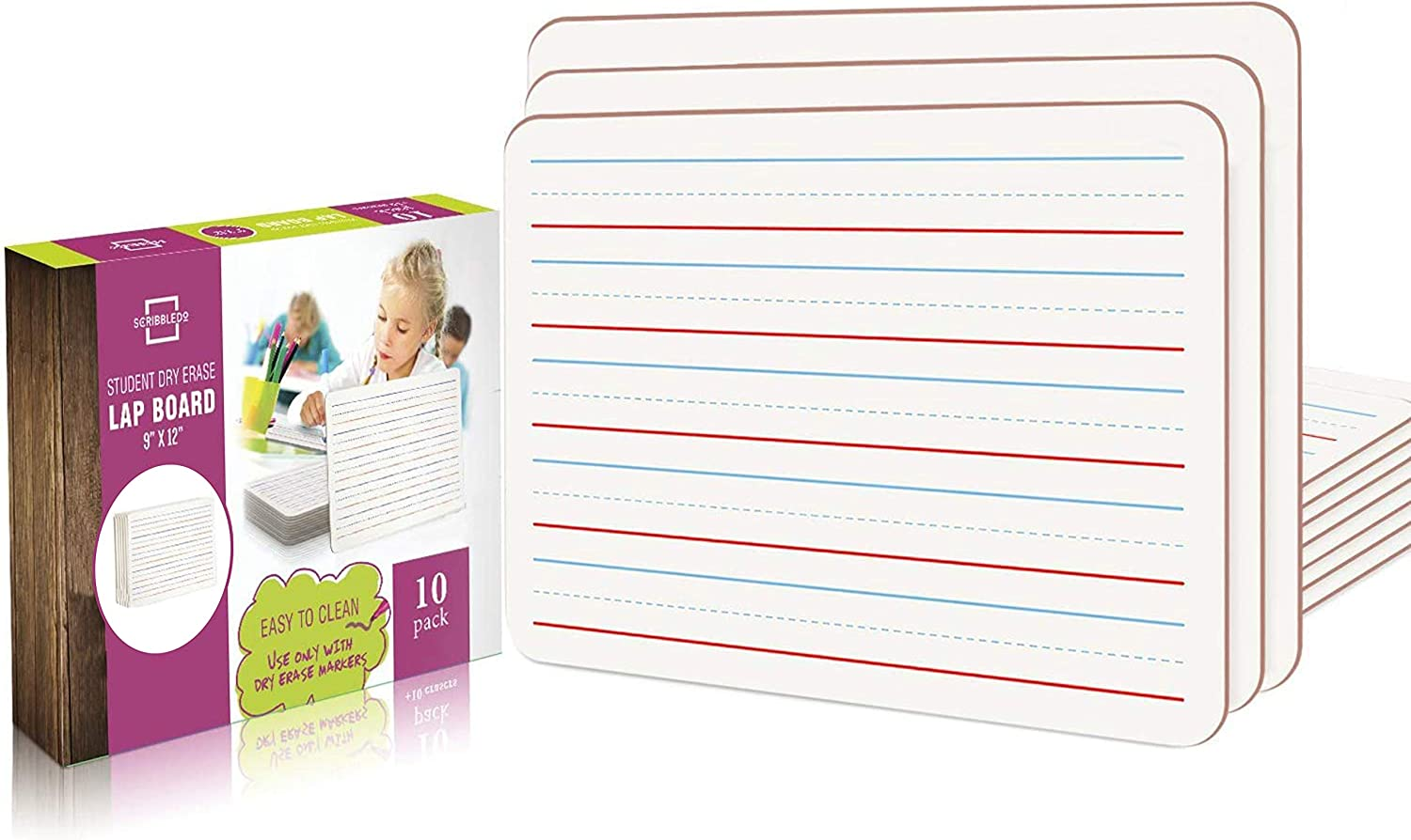 10 Pack Dry Erase Lined White Board size 9x12 in the Our Must Haves: Essential Homeschool Supply Checklist article from That Homeschool Family written by Elizabeth Dukart