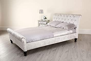 24d9207b6e4 Chesterfield Sleigh Bed Frame Fully Upholstered in Silver Crushed Velvet  Fabric Diamante Crystal Effect Buttons Double