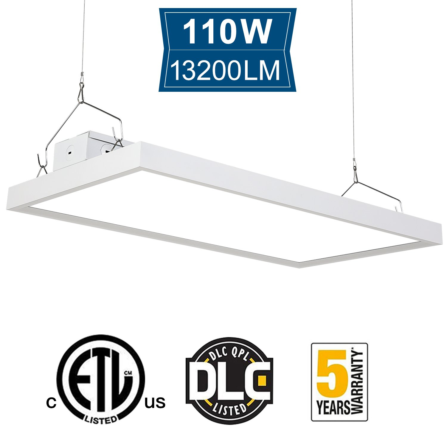Amico 110W 2FT High Bay Light Fixture, 5000K 13200 Lumens Dimmable Commercial Grade Indoor Industrial Lights, DLC & ETL-Listed, Warehouse, Factory, Garage, Shop Light (High Bay 110W)