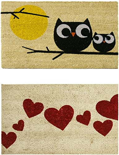 Rubber-Cal Modern Love Themed Coco Coir Door Mats Set of 2 , 18 x 30