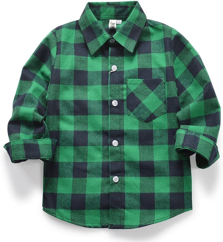OCHENTA Little Big Boys' Plaid Flannel Button Down Shirt