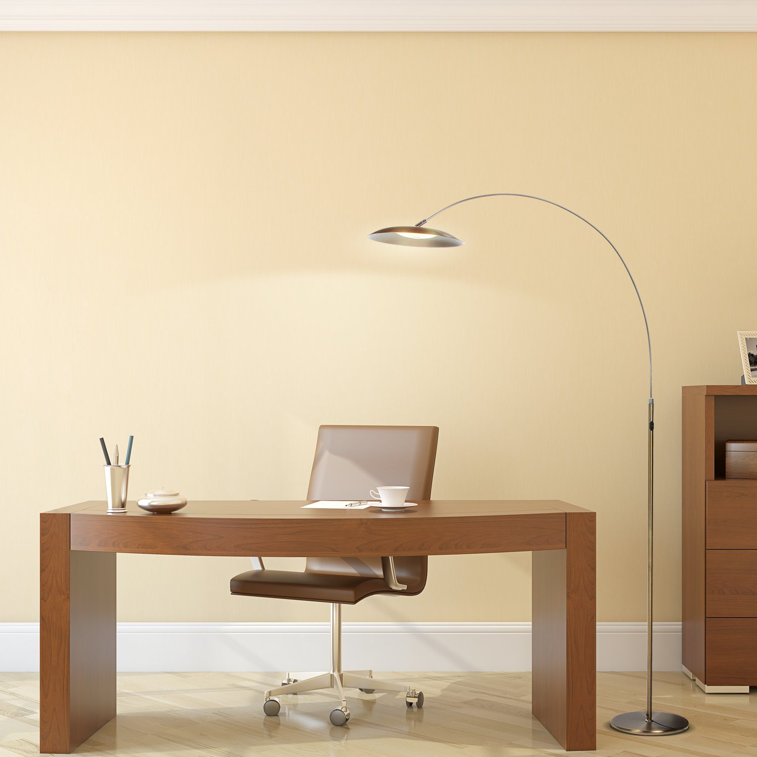 Brightech Atlas LED Floor Lamp- Gold Dimmable Contemporary Modern ...