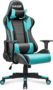 Homall Gaming Chair Office Chair High Back Computer Chair PU Leather Desk Chair PC Racing Executive Ergonomic Adjustable Swivel Task Chair with Headrest and Lumbar Support (Cyan)