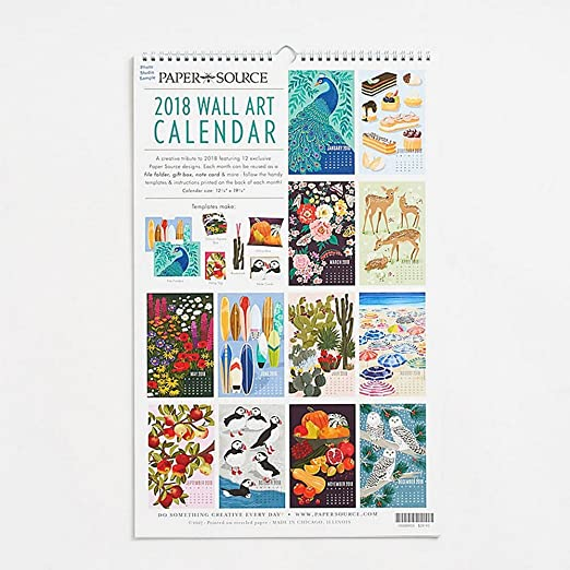 Amazon com 2018 wall art poster wall calendar office products