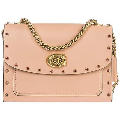 c413e0294b COACH Women s Crystal Border Rivets Parker 18 Shoulder Bag B4 Nude Pink One  Size  Handbags  Amazon.com