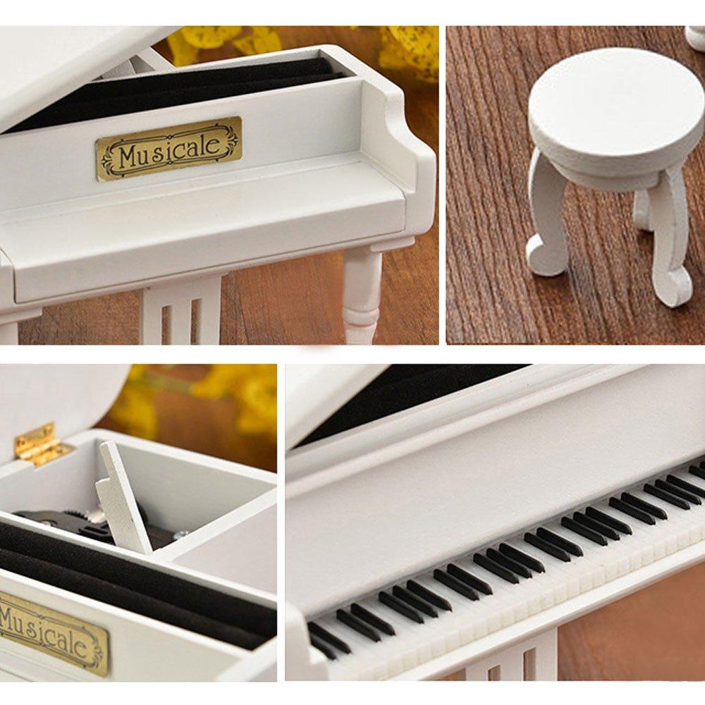 FnLy 18 Noten Retro Klavier-Spieluhr aus Holz mit vergoldetem Uhrwerk in Holz-Imitation Geschenk Spieluhr Patenmotiv Pink-golden