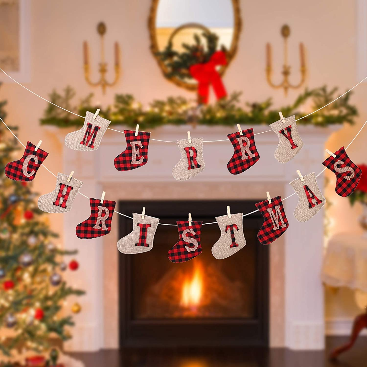 Merry Christmas Banner Decorations,Burlap Garland Christmas Socks Indoor Banner,Xmas Decor Indoor for Fireplace Home Office Party