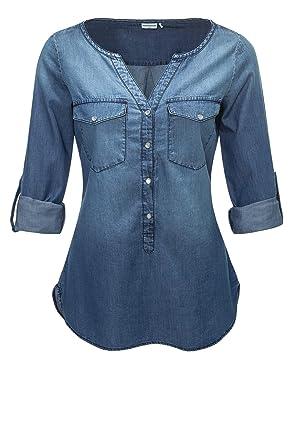 JACQUELINE de YONG Damen Jeans-Bluse Langarmbluse Tunika (M, Medium Blue  Denim)