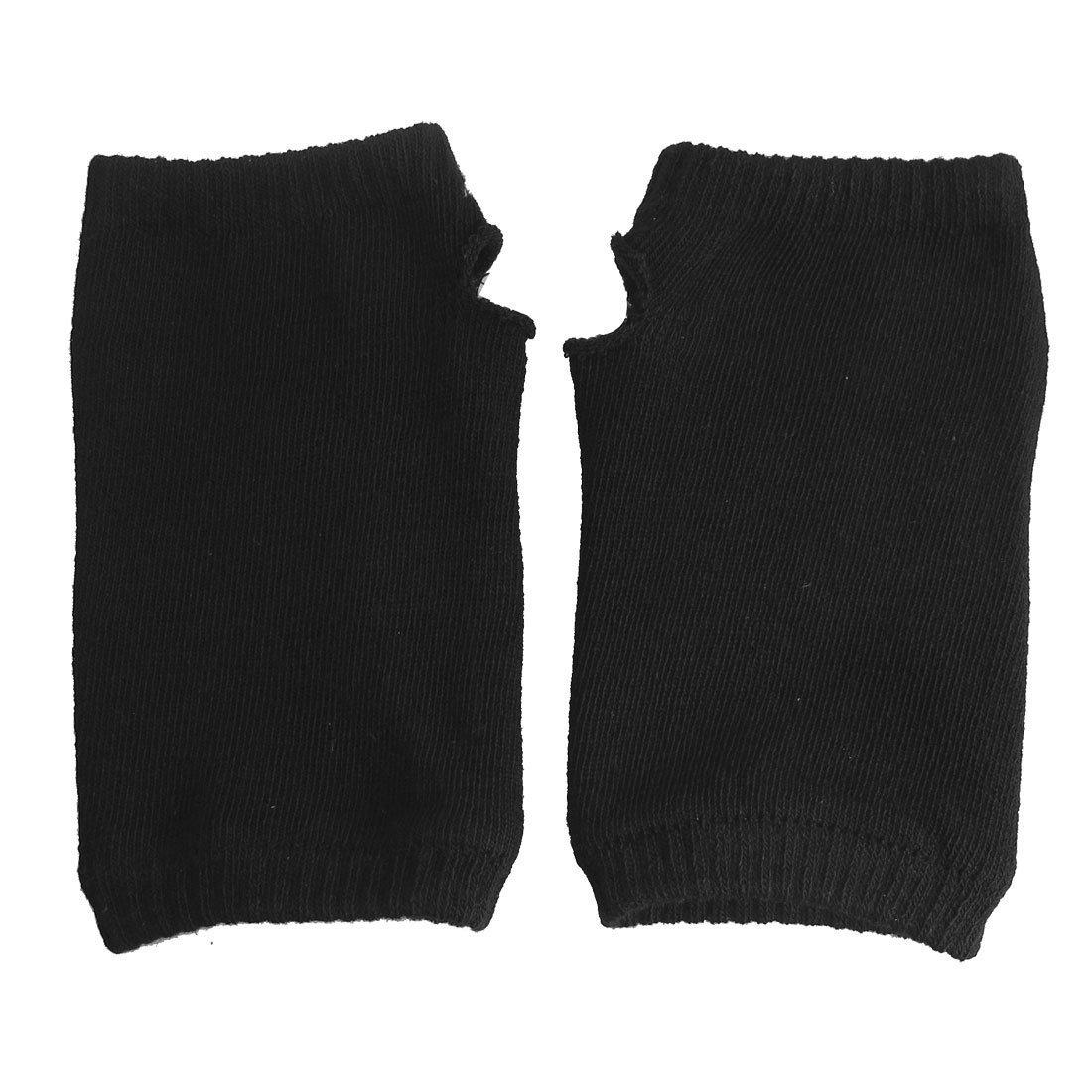 Gleader Une paire de Gants sans doigts/Mitaines tricotes d'hiver elastiques en acrylique noirs pour les femmes 008725