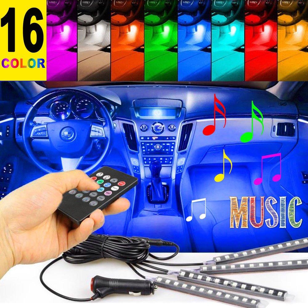 Interior Lights,4PCS12 LEDs 8 Color 12V Cool Vehicle Interior Atmosphere Strip Lights Neon Lights Music Induction Strip Light with Remote Controller,Fit for Car,SUV,Van