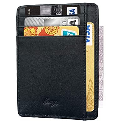 91be9a20a2e1b Kemy s Leather Credit Card Holder for Mens Slim RFID Card Case Men Front  Pocket Wallets Mini Thin Genuine Leather Black