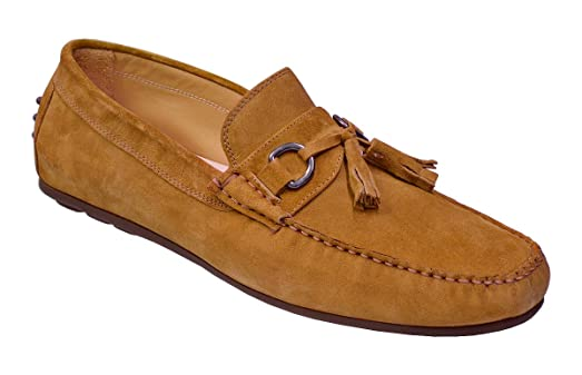 Men's Genuine Suede Leather Slip-On Loafer Shoes 2907 - Made In Italy Camel 10 M