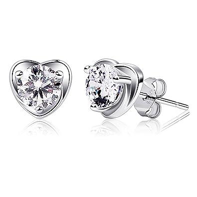 d9073a171 B.Catcher Earring Studs Heart Shape 925 Sterling Silver Cubic Zirconia  Heart Stud Earrings: Amazon.co.uk: Jewellery