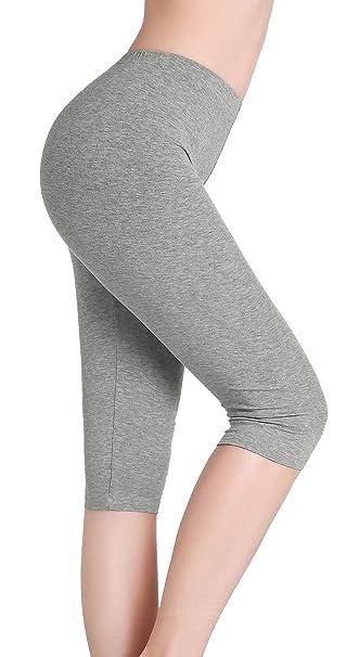 CnlanRow Mujer Pantalones Capri Leggings Cortos Bajo Falda Pantalón 3/4 - Suave Delgada